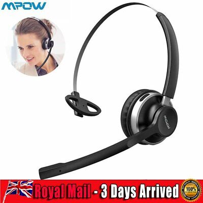 £25.39 • Buy Mpow Bluetooth Call Center Wireless Headphone Telephone Headset Dual Driver Mic