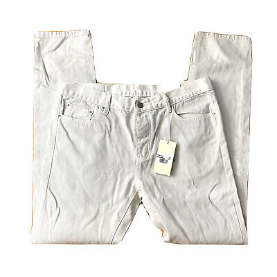 $ CDN45.53 • Buy Mnml La Jeans S105 Mens 36 Relaxed Fit Denim Cream White Ankle Zip Tapered NWT