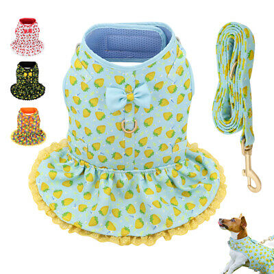 Cute Floral Small Pet Girl Dog Dresses Harness & Leash Puppy Cat Summer Clothes • 12.54£