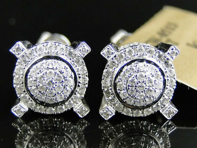 $140 • Buy Mens Ladies 14K White Gold Over Diamond Pave Circle Round Prong Stud Earrings
