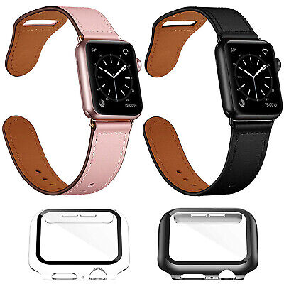 $ CDN18.99 • Buy Apple Watch Series 4 5 6 SE Genuine Leather Band + Hard Screen Protector Case CA