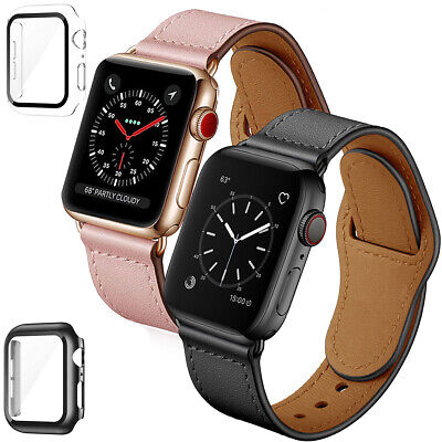 $ CDN20.89 • Buy For Apple Watch Series 1/2/3/4/5/6/SE Leather Band + PC Case W/Screen Protector