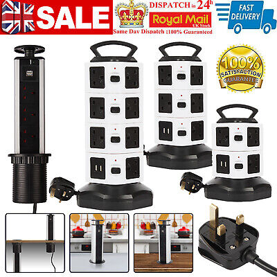 £17.99 • Buy USB Port Tower Electric Mains Power Strip Surge Protector Pull Pop Up Socket UK