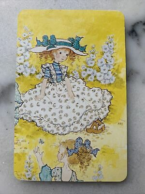 AU3 • Buy Swap Card Vintage Sarah Kay 70's Girl In White Dress Yellow Genuine Collectable