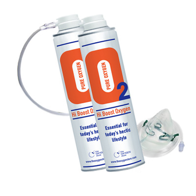 £29.99 • Buy O2 Oxygen In A Can Pro (2 X 10L) Tubing & Mask Canned Portable Recreation Energy