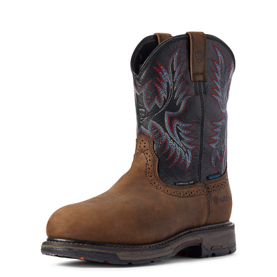 $129.99 • Buy Ariat WORKHOG H20 Mens COMPOSITE TOE 10031562 Oily Distressed Brown/Black Boots