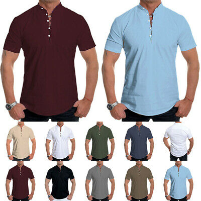 £10.79 • Buy Mens Stand Collar Short Sleeve Tops Buttons Casual T-Shirt Blouse Pullover Tunic