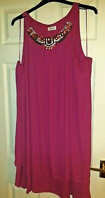 AU5.39 • Buy Yours Clothing Deep Pink Beaded Top / Tunic Size 26/28