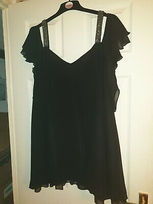 AU5.39 • Buy Yours Clothing Black Beaded Top / Tunic Size 24