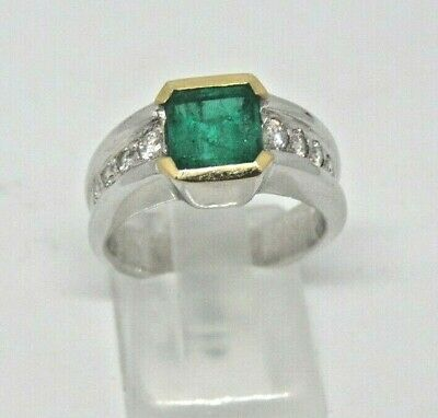 AU3360.70 • Buy Gold Ring 18KT Emerald And Diamonds Small And Diamond Emeraude