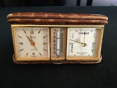 AU88.85 • Buy Vintage Looping 8 Day Travel Alarm Clock With Barometer And Thermometer