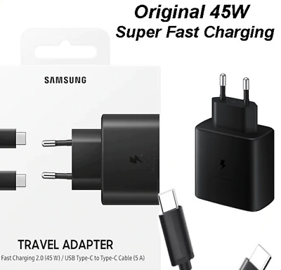 AU27.96 • Buy Original Samsung Charger 45W Super Fast Charger +Cable Double Type C