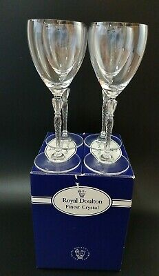 Royal Doulton Crystal Oxford Wine Glasses - Twisted Stem Goblet 8 1/4 - Box Of 4 • 39.99£