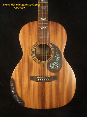 $950 • Buy Bruce Wei Solid Acacia 000 Acoustic Guitar Abalone Inlay, Soft-Bag 000-2001