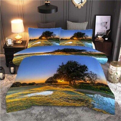 AU82.11 • Buy Setting Sun Shone Through Leav 3D Quilt Duvet Doona Cover Set Pillow Case Print