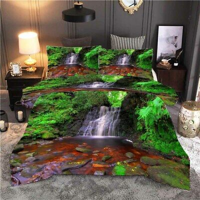 AU82.11 • Buy There Are Trees Near Waterfall 3D Quilt Duvet Doona Cover Set Pillow Case Print