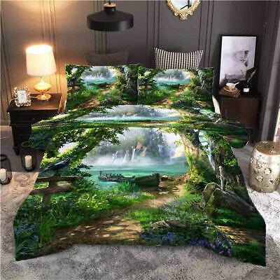 AU82.11 • Buy Swirled Around The Green Trees 3D Quilt Duvet Doona Cover Set Pillow Case Print