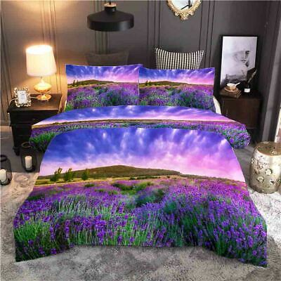 AU82.11 • Buy Lavender Is Spread All Over 3D Quilt Duvet Doona Cover Set Pillow Case Print