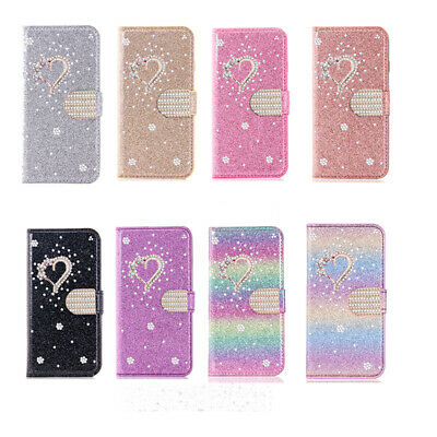 AU14.99 • Buy For IPhone 13 12 11 Pro Max 7/8 Bling Glitter Diamond Heart Wallet Case Cover