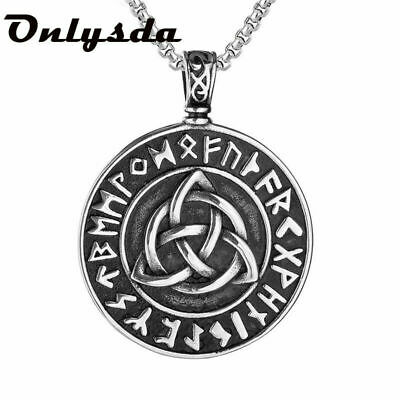 Classic Stainless Steel Pendant The Tree Of Life Runes Nordic Talisman Necklace • 7.52£