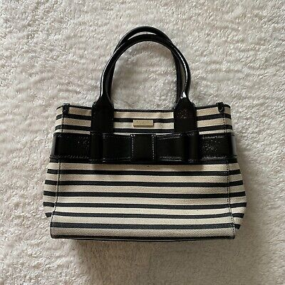 $ CDN62.65 • Buy Kate Spade Striped Patent Leather And Canvas Tote Bag Purse