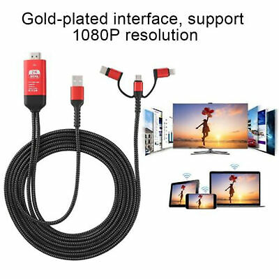 AU19.98 • Buy For Android/iOS 3-in-1 MHL USB Type C To HDMI Cable 1080P HD TV Adapter RED New