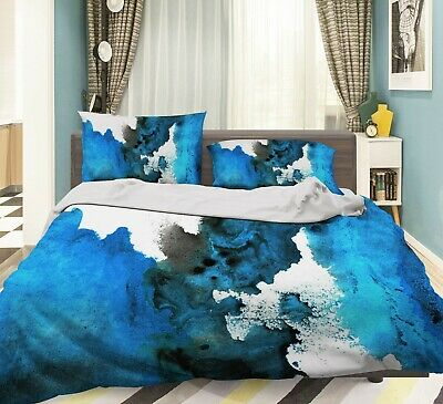 AU96.99 • Buy 3D Watercolor Blue NAO2606 Bed Pillowcases Quilt Duvet Cover Set Queen King Fay