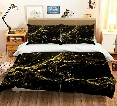 AU96.99 • Buy 3D Gold Pattern NAO2609 Bed Pillowcases Quilt Duvet Cover Set Queen King Fay