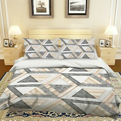 AU116.99 • Buy 3D Gray Triangle NAO2614 Bed Pillowcases Quilt Duvet Cover Set Queen King Fay