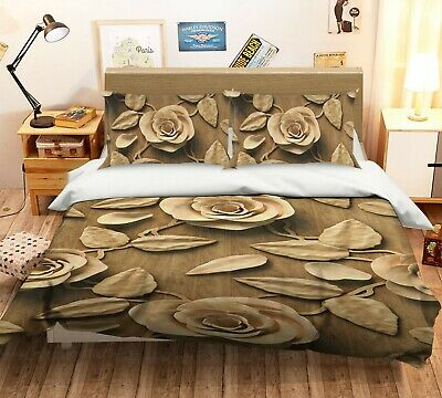 AU116.99 • Buy 3D Carved Rose NAO2624 Bed Pillowcases Quilt Duvet Cover Set Queen King Fay