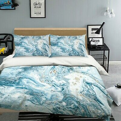 AU116.99 • Buy 3D Blue Texture NAO2630 Bed Pillowcases Quilt Duvet Cover Set Queen King Fay