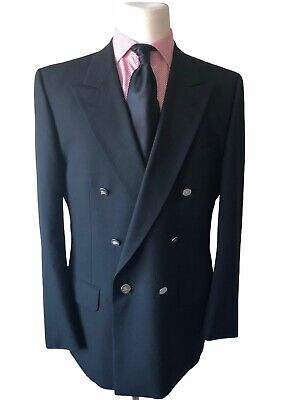$62.99 • Buy Burberry Vintage Men's Black Wool Silver Button Double Breasted Blazer -Size 40R