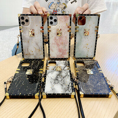 AU14.36 • Buy For IPhone 13 12 11 Pro Max XR Epoxy Marble Pattern Metal Square Crossbody Case