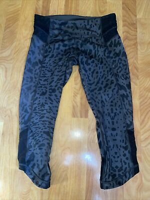 $ CDN1.56 • Buy EUC Lululemon Capri Leggings Black Gray Leopard Size 8