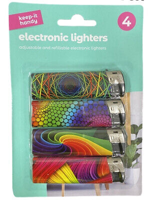 £2.99 • Buy Electronic Refillable Lighters Adjustable Assorted Colours 4 In Pack Child Safe