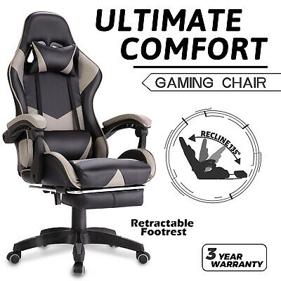 AU129.90 • Buy Advwin Gaming Chair Office Chair PU Leather Ergonomic Recliner W/Footrest Grey