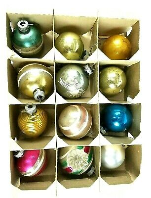 $ CDN12.49 • Buy Vintage Glass Christmas Ornaments-SHINY BRIGHT BOX-12 Ct. Supports Charity 100%
