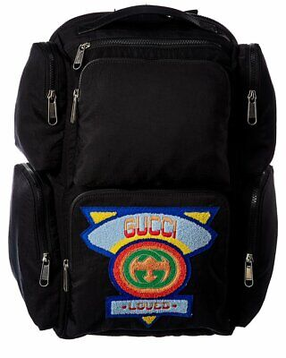 AU1548.19 • Buy Gucci Black Gg Canvas Large 80S Patch Backpack Women's
