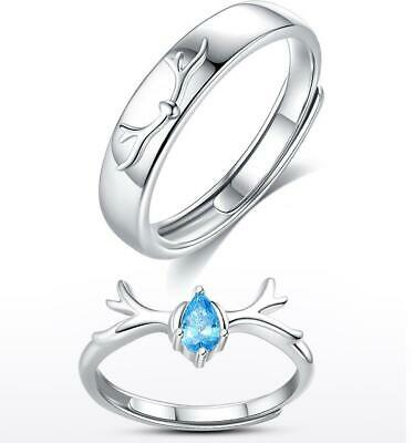 £4.80 • Buy 925 Sterling Silver Love Couple Rings Matching Adjustable Rings Lover Gift UK
