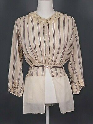 £21.60 • Buy VTG Women's AS IS Teens Early 1900s Ivory Striped Blouse Sz S Antique Shirt