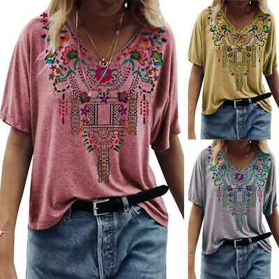 £10.73 • Buy Womens Hippie Print V-Neck Tops Short Sleeve T-Shirt Summer Casual Loose Blouse