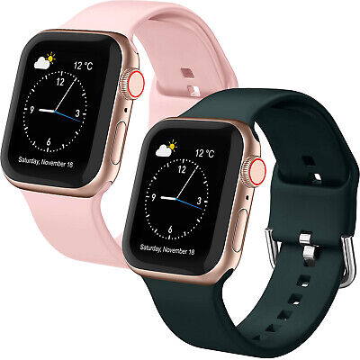 $ CDN14.99 • Buy For Apple Watch Series 1/2/3 38mm 42mm Soft Silicone Sport Wrist Bands, 2PACK