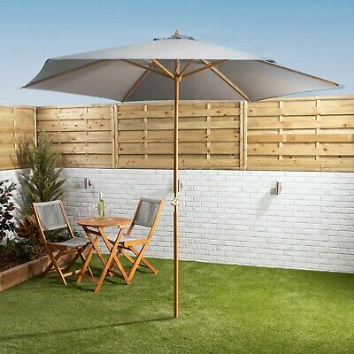 £54.99 • Buy Garden Parasol With Crank 3m Wooden Pole Water Resistant Canopy
