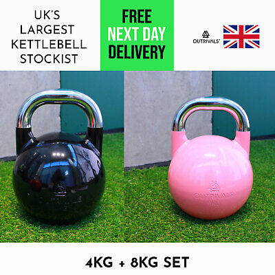 AU187.39 • Buy Competition Kettlebells 4kg & 8kg Steel Weights Set Gym Training Home Outdoor