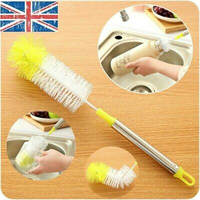 £3.56 • Buy Long Handle Bottle Cup Cleaning Brush Brew Scrubbing Kitchen Cleaner Washer Tool