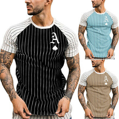 £10.99 • Buy Mens Short Sleeve Striped T-shirt Casual Floral Slim Fit Muscle Tee Tops Tunic
