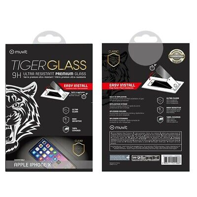 AU34.87 • Buy Muvit Film For IPHONE X Toughened Glass Screen Protector Curved With Applicator
