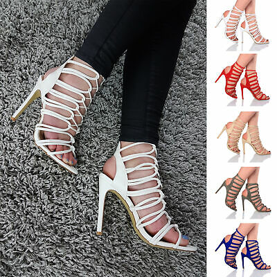 £11.99 • Buy Womens High Heel Ladies Tie Up Caged Gladiator Strappy Knot Sandals Shoes Size