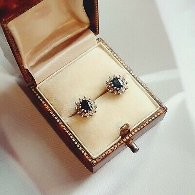£200 • Buy 9ct Yellow Gold Sapphire And Diamond Halo Cluster Stud Earrings