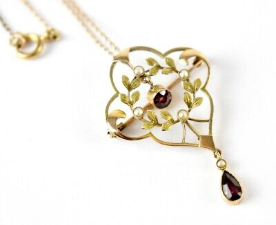 £240 • Buy Edwardian 9ct Gold SUFFRAGETTE PENDANT NECKLACE AMETHYST & SEED PEARL